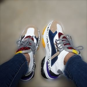 COLOUR BLOCK CHUNKY TRENDY GRUNGE SNEAKERS SHOES